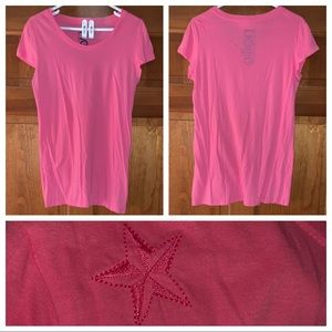 Pink, Fitted Tee w/ Nautical Star on Shoulder